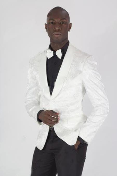 Mens White Paisley Shiny Blazer Dinner Jacket