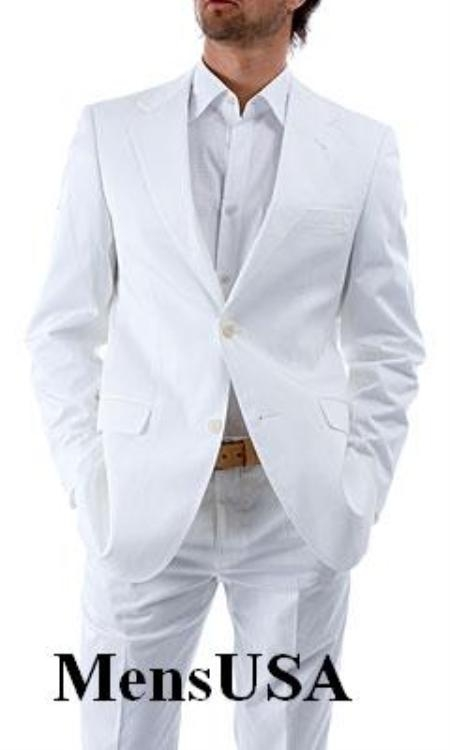 Elegant Two Button Notch Lapel Side Vented Snow White Sui