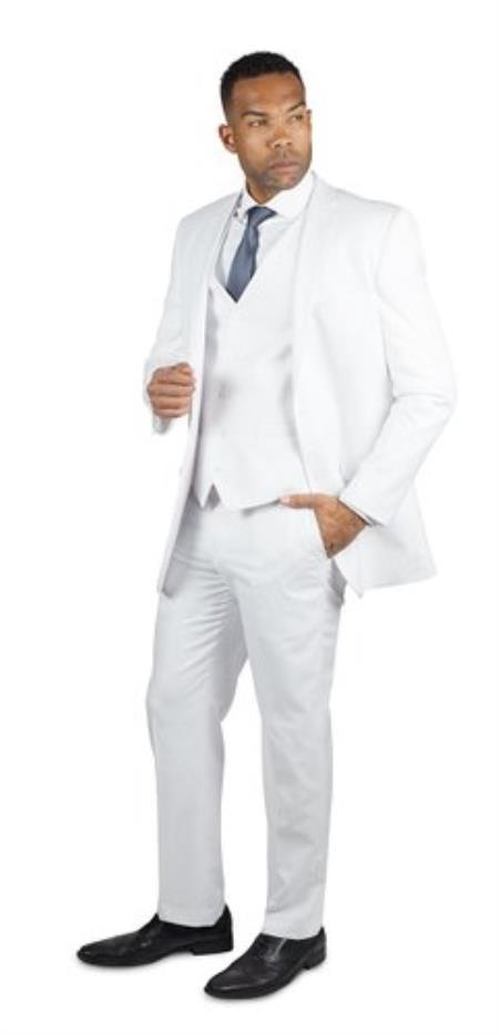Mens White 2 Button Three Piece TR Blend Suit