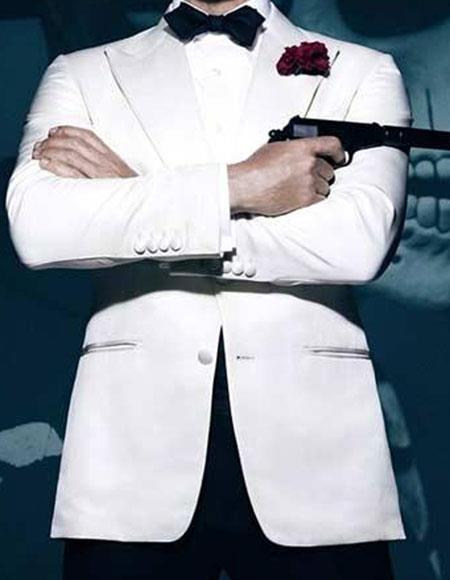 Buy ACT_YS61W Men's Spectre James Bond 1 Button Peak Lapel White Tuxedo