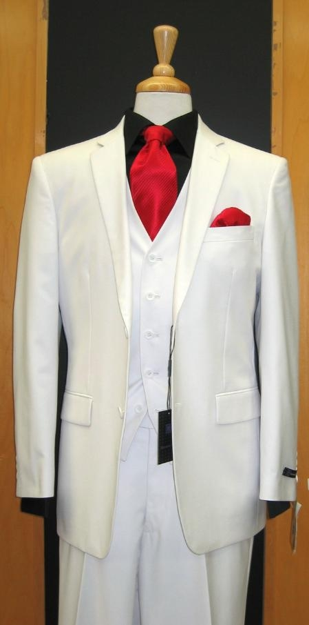 SKU#SL345 Two Button Three Piece Tapered Cut Flat Front White three piece suit