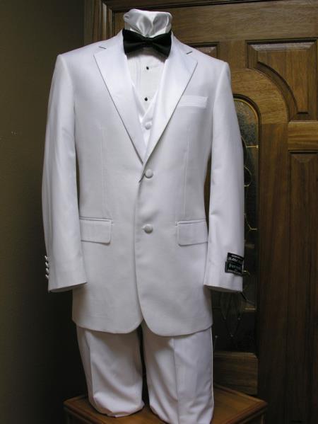 Two Button Notch Lapel Tuxedo jacket,Pant And Vest Combination White