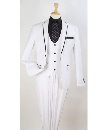 Mens White Two Toned And Fashion Trim Lapel Wedding / Prom / Homecoming Tuxedo Vested 3 Pieces