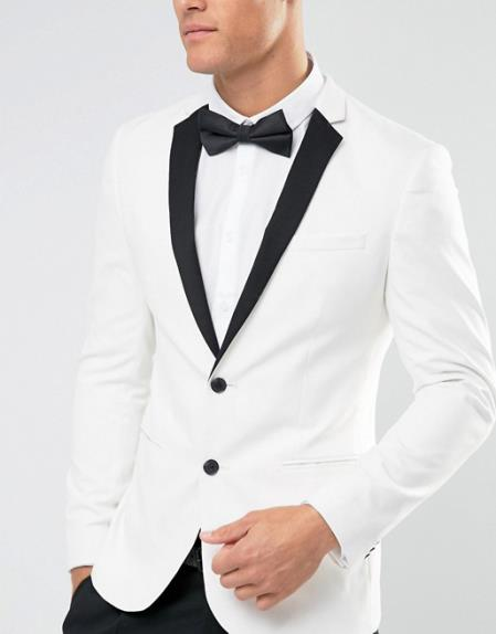 Mens New Look 2 Button White Regular Fit Tuxedo Jacket