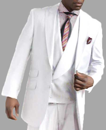 Mens Two Button Single Breasted White Peak Lapel Vested Side Vent Suit