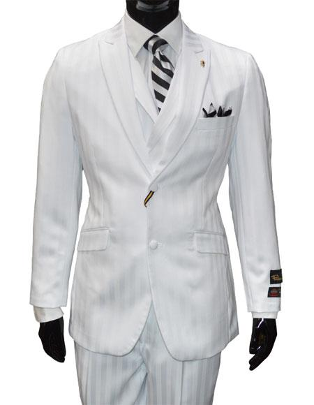 Falcone Men's Single Breasted 2 Button Vested Striped Pattern White 3 Piece Suit