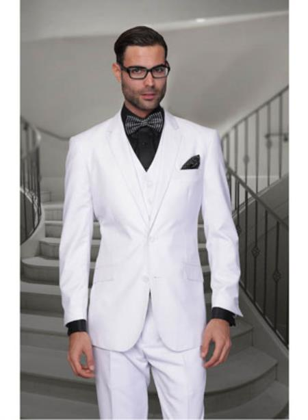 Statement Confidence Mens Solid White 2 Button Modern Fit Wool Suit