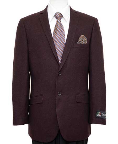 Men's Wine Slim Fit 2 Button Blazer
