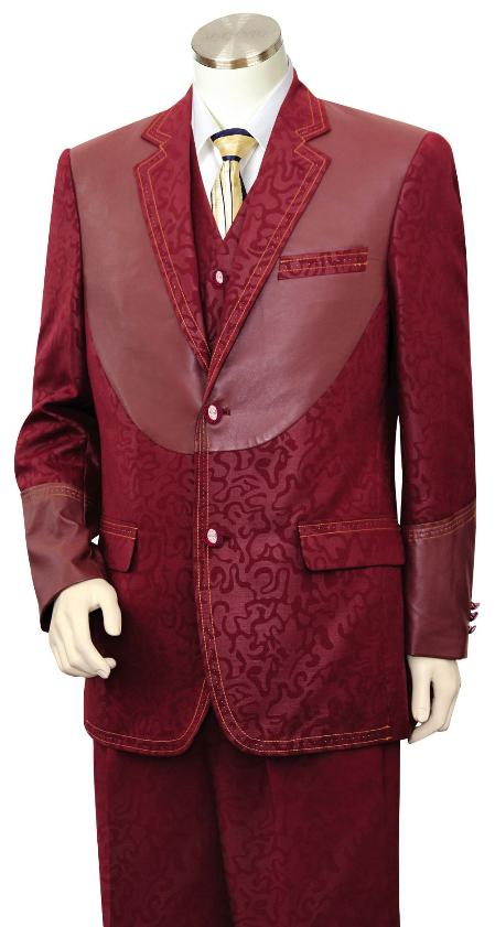 Mens 3 Piece Fashion Trimmed Two Tone Blazer/Suit/Tuxedo - Fancy Pattern with Leather Trim Wine