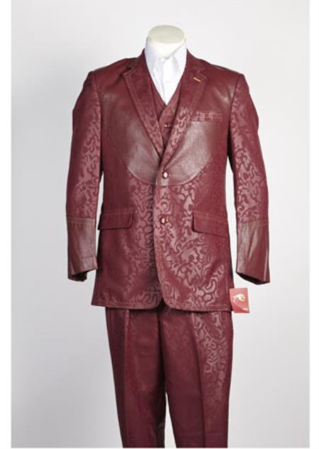 Mens 2 Button Shiny Single Breasted Suit Wine
