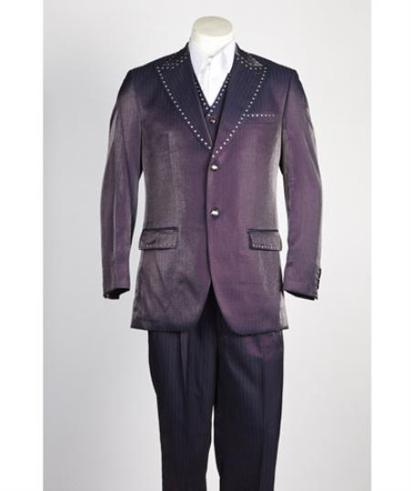 Mens 2 button Single Breasted Suit Wine
