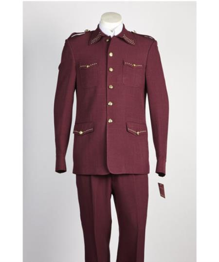 Mens diamond nail heads 2 Piece 2 Button Safari Military Style Suit Wine
