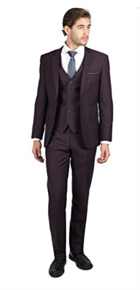 Mens Wine Shark Skin 2 Button Three Piece TR Blend Suit
