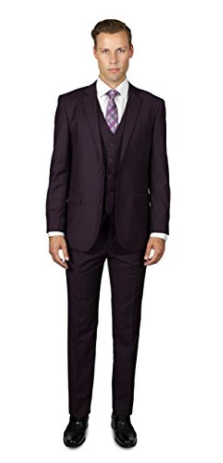 Men's 2 Button Wine Three Piece TR Blend Suit Affordable - Discounted Priced On Clearance Sale
