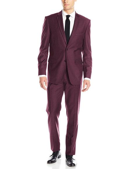 Mens Single Breasted 2 Button Wine Classic & Slim Fit Suits