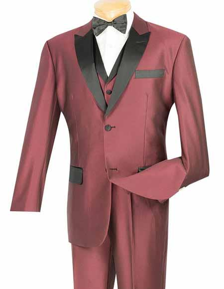 Vinci Two Button Mens Shiny Wine Peak Collar 3 Piece Tuxedo Entertainer Suit
