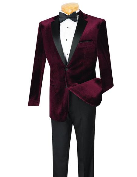 Mens 2 Button Wine Velvet Tuxedo Notch Lapel