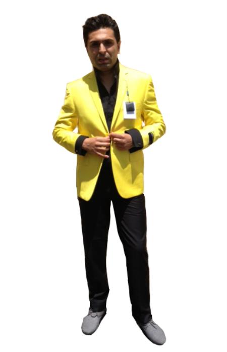 Men's Two Button Men's Wholesale Blazer Yellow ~ Canary Sport Coat Jacket