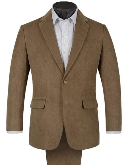 Mens 2 Buttons Single Breasted Corduroy Beige Suit Single Pleated Trouser