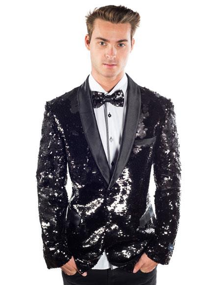 Sequin Blazer Mens Black Regular Fit Sequined 2 Buttons Shawl Lapel Blazer Matching Bow Tie