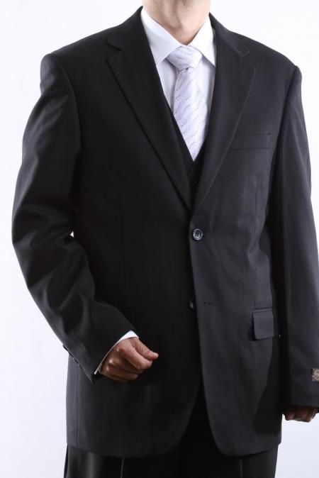Mens 2 Button Black Tonal 3 Pieces Vested Dress Shadow Stripe Pinstripe tone on tone suit
