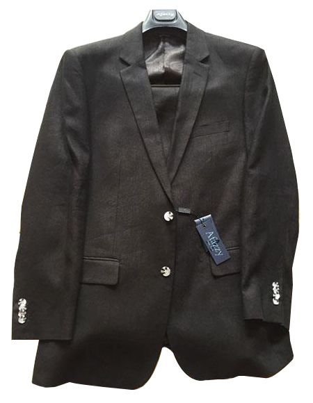 Mens Black Single Breasted Two Buttons 100% Linen Modern Fit lined suit