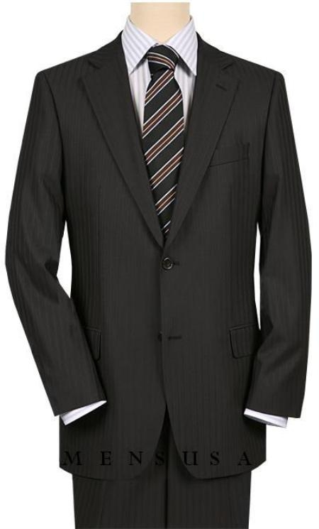 2 Button Notch Lapel Side Vented Black Mini Shadow Pinstripe High-quality tone suits