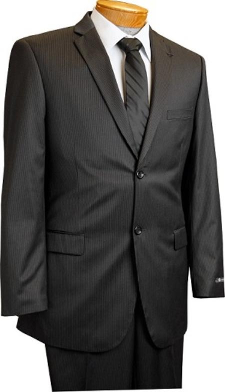 Men's 2 Button Slim Cut Black Pinstripe Conservative Pattern Suit Black Mini Stripe Tapered Cut