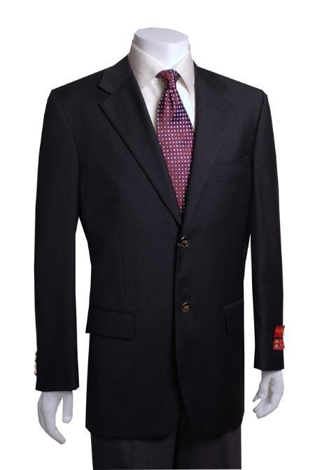 Mix and Match Suits Men's Quality 2 Buttons Portly   Blazer / Sport coat Black Executive Fit Suit - Mens Portly Suit