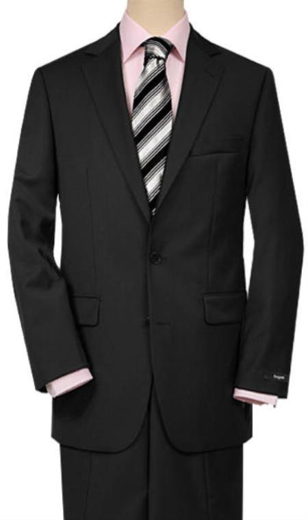 Mix and Match Suits Men's Quality 2 Buttons Portly Suits Solid Black Executive Fit Suit - Mens Portly Suit