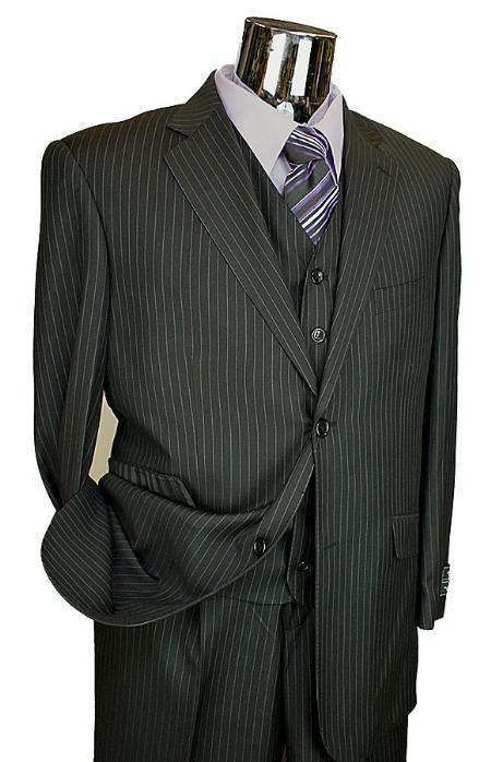 1950s Style Mens Suits | 50s Suits Mens Black Stripe  Pinstripe Vested 3 Piece 2 Button Flat Front Pants Three Piece Suit $175.00 AT vintagedancer.com