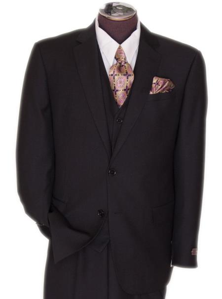 Mens 2 Button Black Regular Basic Cut Flat Front Pants Three Piece Suit