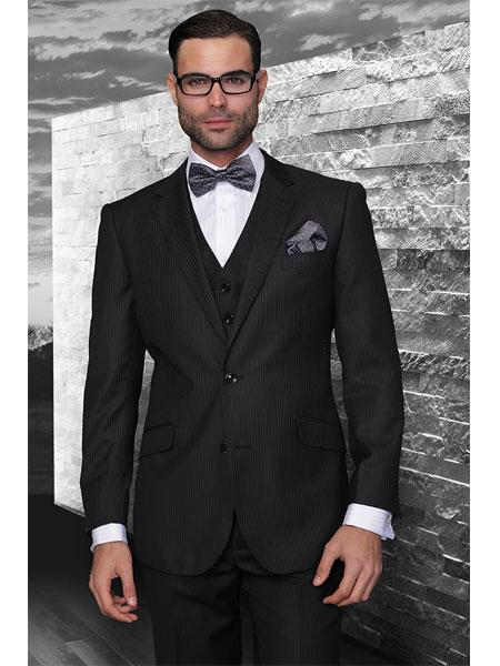 Mens Three Piece Suit - Vested Suit Classic 3pc 2 Button Black Stripe Suit Super 150's Extra Fine Italian Fabric
