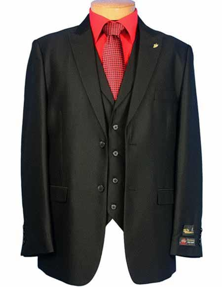 Mens Falcone 2 Button Vested Peak Lapel Black Suit With Single Pleated Pants