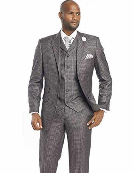1920s Mens Suits | Gatsby, Gangster, Peaky Blinders Mens Notch Lapled Vested 2 Buttons Suit Checker Window Pane Plaid Black Suit $165.00 AT vintagedancer.com