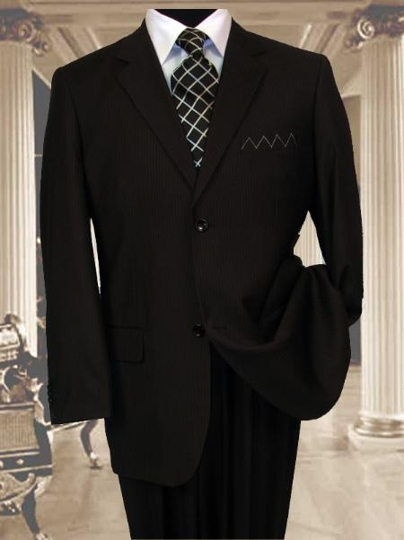 SKU#FH811 Mens 2 Button Extra Long Black Mens Suit With a Smooth Pinstripe