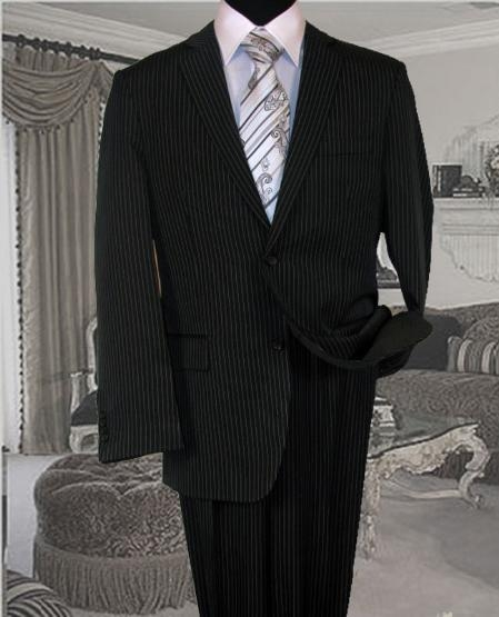 SKU#RA900 Black With White Pinstripe Conversative 2 Button Flat Front Mens Suit
