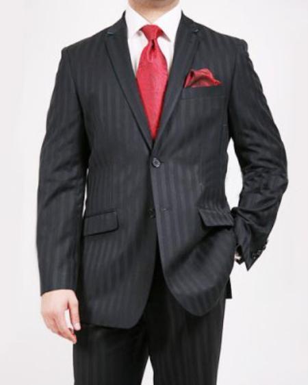 Mens 2 Button Black Tone on Tone Suit