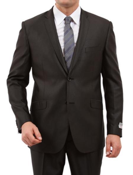 Mens 2 Button Front Closure Side Vent Suit Black