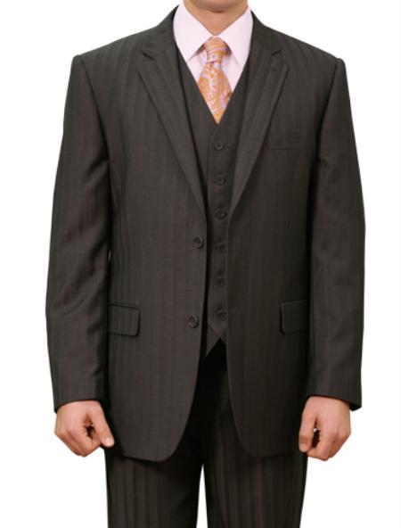 Mens 2 Button Front Closure Notch Lapel Suit Ton on Ton Shadow Stripe ~ Pinstripe Flat Front Pants Regular Fit