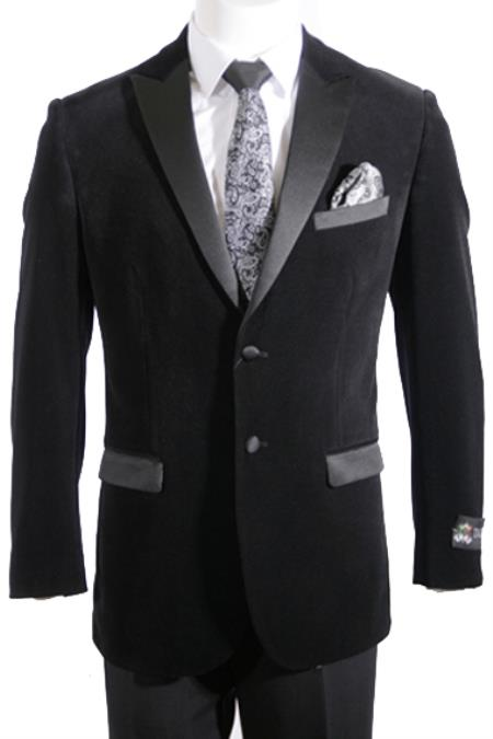 2 Button Velvet ~ Men's blazer with Satin Lapel Side Vent Black