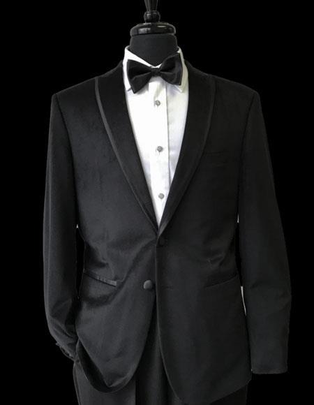 Mens Trimmed Lapel Velvet Tuxedo 2 Buttons Black