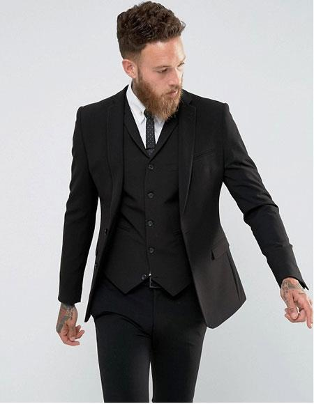 Men's Slim Fit Vested Suit With Lapeled Vest Solid Black 2 Buttons Style Super 140's Wool