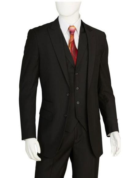 Discounted Mens Black 2 Buttons 3 Pieces Vested Suit Pleated Pants Regular Fit Online Sale