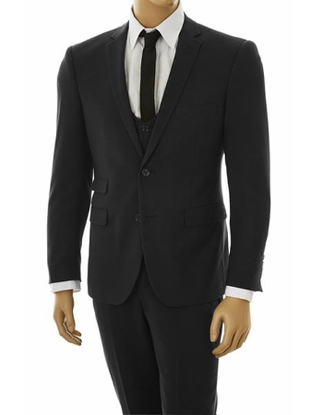 Mens Tight Black 3 Piece Stretchy Fabric Ultra Slim Fit Vested Suit