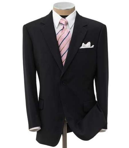 SKU# FMK944 Mens 2 Button Liquid Black Super Wool Double Side Vent Dress Suit