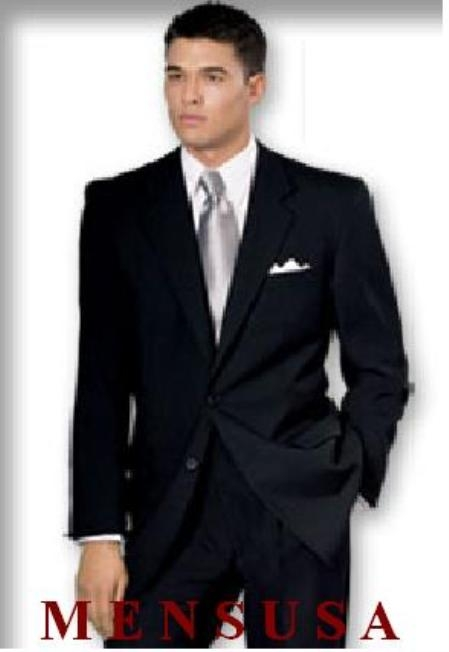 SKU# LAP611 Reg: $1295 No Pleated Flat Front Pants With 2 Button Solid Black 100% Wool Jacket By