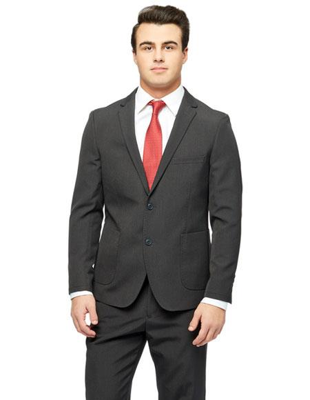 West End Mens Two Buttons Single Breasted Young Look Black Wool Feel Slim Fit Suit