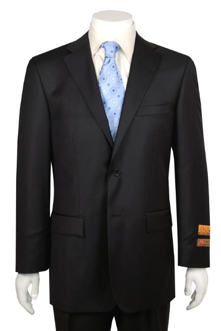 SKU#QA432 Black 2 Button Vented without pleat flat front Pant Wool Suit Enzo Authentic Brand