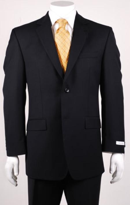 SKU#LK342 Black Modern Fit 2 Button Vented without pleat flat front Pants Wool
